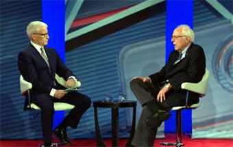 Anderson Cooper interviewing Bernie Saners