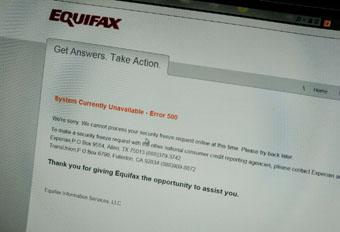 Equifax error page