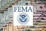 Photo-composition FEMA logo and money