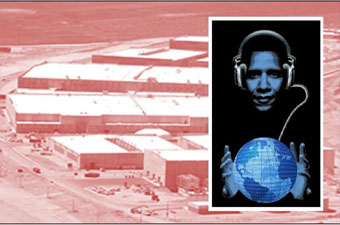 Digital image by Rob Shields depicting President Obama holding the earth with NSA facility in the background