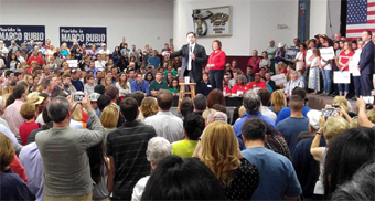 Crowd to hear Marco Rubio campaign speech in Jacksonville Florida