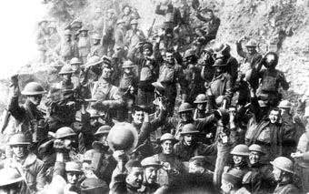 American soldiers celebrating Armistice