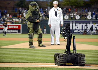 bomb disposal robot throws first pitch