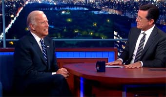 Biden with talk show host Steven Colbert