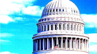 capitol dome on blue sky background