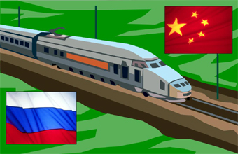 train with Russian & China's flags