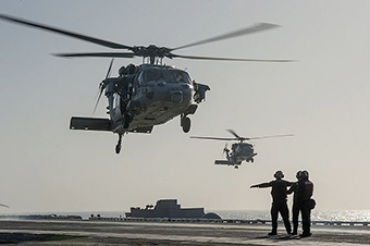 chopper off Arabian Gulf