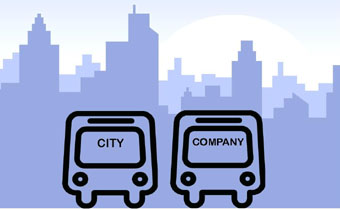 cartoon of city bus vs business bus