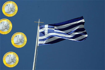 Image composite by Thursday Review of Euros & Greek flag