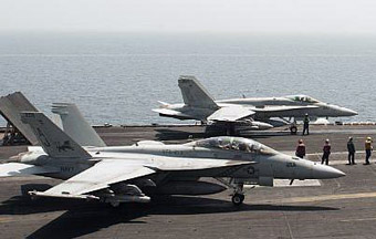 F-18 Hornets on a carrier