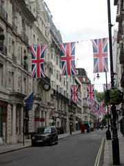 British flags lining a London street