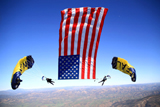 skydiving with US Flag