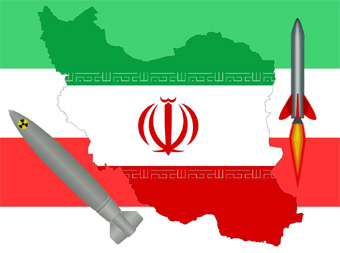 photo composition of Iran flag with missile images