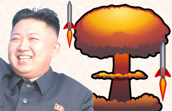 composite image with Kim Jung Un and hydrogen bomb images