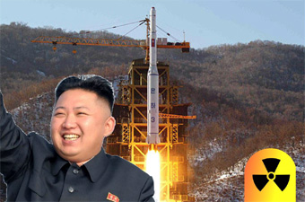 photo composition of Kim Jong-Un with missile in the background