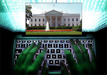 composite of White House on laptop being hacked
